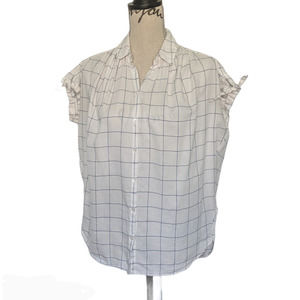 Madewell Central Tie Sleeve Shirt White & Blue XS